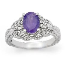 Genuine 1.75 ctw Tanzanite & Diamond Ring 18K White Gold - 14033-#64F3M