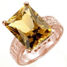 Genuine 8.50 ctw Citrine Ring 14K Rose Gold - 10037-#51N2F