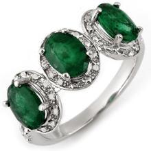 Genuine 2.58 ctw Emerald & Diamond Ring 10K White Gold - 11271-#23N3F