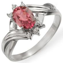 Genuine 0.79 ctw Pink Tourmaline & Diamond Ring 18K White Gold - 11425-#30R3H