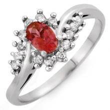 Genuine 0.50 ctw Pink Tourmaline & Diamond Ring 10K White Gold - 10399-#21T5Z