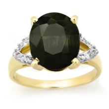 Genuine 6.58 ctw Blue Sapphire & Diamond Ring 10K Yellow Gold - 12719-#38M5G