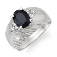 Natural 1.82 ctw Blue Sapphire & Diamond Ring 10K White Gold - 13650-#31F8M