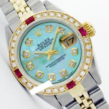 Rolex Ladies 2Tone 14K Gold/ Stainless Steel, Diam Dial & Diam/Ruby Bezel, Saph Crystal - REF#327G3R