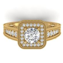 2 CTW Certified Diamond Engagement Art Deco Halo Ring 18K Yellow Gold - 32755-REF#229W2H