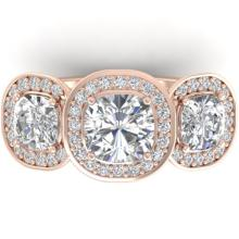 2.70 CTW Cushion Cut Certified Diamond Art Deco 3 Stone Ring 18K Rose Gold - 32601-REF#423X6Y
