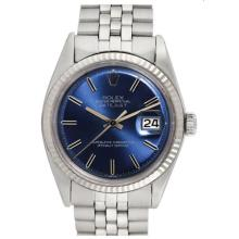 Pre-owned Excellent Condition Authentic Rolex Quickset Men's Stainless Steel DateJust Blue Dial Watch - REF#-260X4R