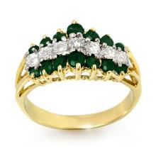 Natural 1.0 ctw Emerald & Diamond Ring 10K Yellow Gold - 12542-#25R5H