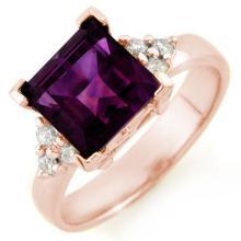 Natural 3.20 ctw Amethyst & Diamond Ring 10K Rose Gold - 10458-#26Z2P