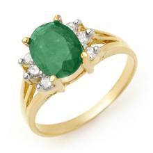 Genuine 2.03 ctw Emerald & Diamond Ring 14K Yellow Gold - 13567-#28Z2P