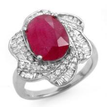Genuine 6.95 ctw Ruby & Diamond Ring 18K White Gold - 12929-#132H3W
