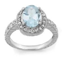 Genuine 2.90 ctw Aquamarine & Diamond Ring 14K Rose Gold - 11419-#54K2T