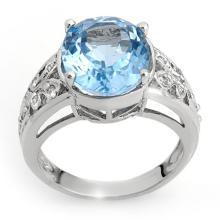 Natural 7.15 ctw Blue Topaz & Diamond Ring 10K White Gold - 10336-#35Y3V