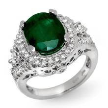 Genuine 6.15 ctw Emerald & Diamond Ring 14K White Gold - 11917-#115M5G