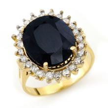 Genuine 14.10 ctw Blue Sapphire & Diamond Ring 14K Yellow Gold - 13113-#111Y5V
