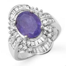 Natural 5.20 ctw Tanzanite & Diamond Ring 18K White Gold - 14430-#190P5X