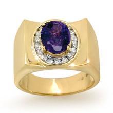 Natural 2.83 ctw Tanzanite & Diamond Men's Ring 10K Yellow Gold - 13486-#76Z8P