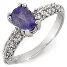 Genuine 2.0 ctw Tanzanite & Diamond Ring 14K White Gold - 11615-#45V7A