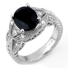 Natural 4.25 ctw Blue Sapphire & Diamond Ring 14K White Gold - 10544-#64T2Z