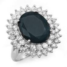 Natural 15.55 ctw Blue Sapphire & Diamond Ring 18K White Gold - 12992-#215Y3V