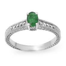Genuine 0.76 ctw Emerald & Diamond Ring 18K White Gold - 13629-#34V7A
