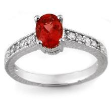 Genuine 1.50 ctw Pink Tourmaline & Diamond Ring 14K White Gold - 10783-#36H2W