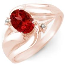 Genuine 1.02 ctw Pink Tourmaline & Diamond Ring 10K Rose Gold - 10847-#20T3Z