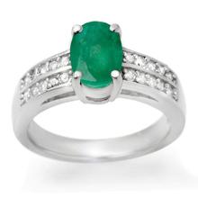 Natural 3.25 ctw Emerald & Diamond Ring 14K White Gold - 13846-#55W2K
