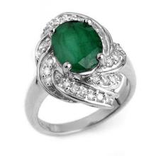 Genuine 3.29 ctw Emerald & Diamond Ring 18K White Gold - 13117-#81Z2P