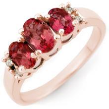 Genuine 0.92 ctw Pink Tourmaline & Diamond Ring 14K Rose Gold - 10923-#32W2K