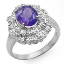 Natural 2.70 ctw Tanzanite & Diamond Ring 18K White Gold - 13836-#79G2R