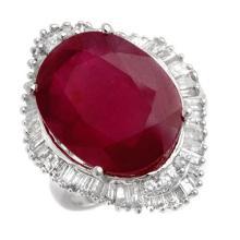 Genuine 15.0 ctw Ruby & Diamond Ring 14K White Gold - 11603-#160F7M