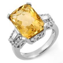 Natural 9.55 ctw Citrine & Diamond Ring 14K White Gold - 11566-#86H3W
