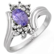 Genuine 1.0 ctw Tanzanite & Diamond Ring 18K White Gold - 10149-#42H2W
