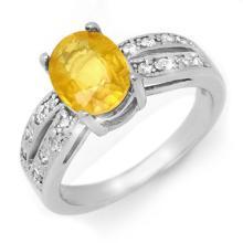 Natural 2.82 ctw Yellow Sapphire & Diamond Ring 14K White Gold - 14238-#52M8G