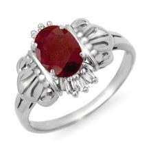 Genuine 1.06 ctw Ruby & Diamond Ring 10K White Gold - 13861-#17K5T