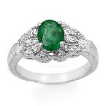 Genuine 1.85 ctw Emerald & Diamond Ring 14K White Gold - 14027-#41F3M