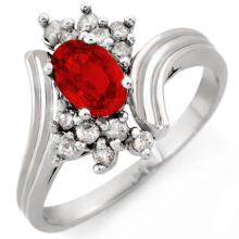 Natural 1.0 ctw Red Sapphire & Diamond Ring 10K White Gold - 10528-#25X5Y