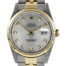 Pre-owned Excellent Condition Authentic Rolex Quickset Men's 18K/Stainless Steel DateJust Silver Dial Watch - REF#-310N4A