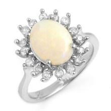 Natural 1.78 ctw Opal & Diamond Ring 18K White Gold - 13268-#68R5H