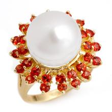 Natural 1.50 ctw Red Sapphire & Pearl Ring 10K Yellow Gold - 10444-#44V5A