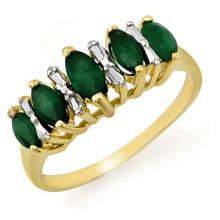 Genuine 0.70 ctw Emerald Ring 10K Yellow Gold - 12655-#16Y2V
