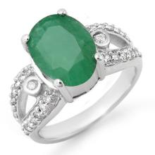 Natural 5.25 ctw Emerald & Diamond Ring 10K White Gold - 14450-#56V3A