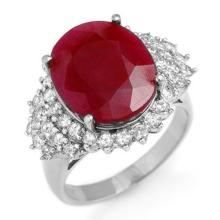 Natural 8.32 ctw Ruby & Diamond Ring 18K White Gold - 12852-#120F2M