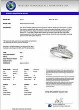 0.95 CTW Certified Princess Diamond Bridal Solitaire Halo Ring 18K White Gold - 27177-REF#128F2N