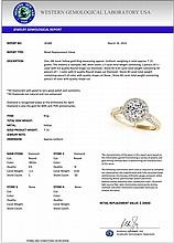 2.15 CTW Certified Diamond Bridal Solitaire Halo Ring 18K Yellow Gold - 26388-REF#482A2V