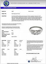 0.75 CTW Certified Diamond 3 Stone Bridal Ring 18K White Gold - 28077-REF#88Z2T