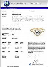 1.25 CTW Certified Diamond Bridal Solitaire Halo Ring 18K Yellow Gold - 26921-REF#181W9H