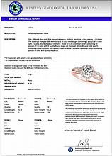 1 CTW Certified Diamond Bridal Solitaire Halo Ring 18K Rose Gold - 26806-REF#154F6N