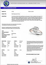 1.10 CTW Certified Diamond Bypass Solitaire Bridal Ring 18K White & Rose Gold - 27716-REF#161G4M